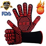 MingBin BBQ Grilling Gloves, BBQ Heat Resistant Gloves Oven Grill Barbecue Gloves, Up to 800° C Extreme Heat Resistant Oven Gloves, Forearm Protector For BBQ, Cooking, Grilling, Baking