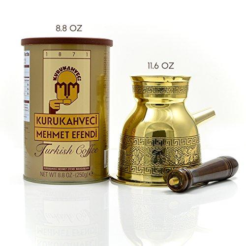 Mehmet Efendi Turkish Coffee 8.8OZ - Greek Turkish Coffee Pot Solid Brass 3mm - Handmade Olympicco Collection (11.6 Oz) Pack of 2