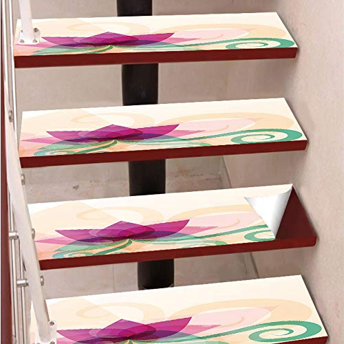 3D Print Non-Slip PVC Stair Pads,Self-Adhesive Steps Sticker,Staircase Treads Protector,Fantasy Lotus with Swirl Leaves Blooming Lily Flower Asian Nature Decorative,for Home Decoration(9.8X39 inch) Se