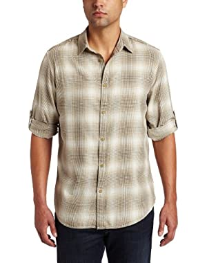 Calvin Klein Men's Long Sleeve Roll-Up Plaid Twill Shirt