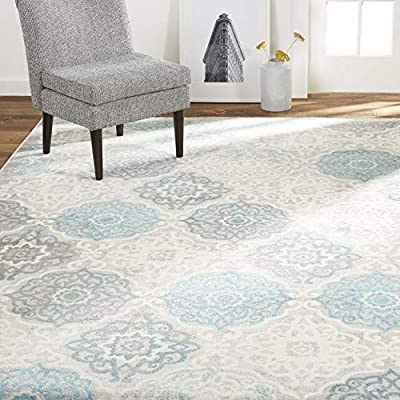 """Home Dynamix Boho Andorra Bohemian Area Rug, Transitional Gray/Aqua/Ivory 5'2""""x7'2"""" - EYE-CATCHING DESIGN: The Boho Andorra rug collection offers a medallion motif in gray with a pop of blue that will add visual interest into your room. AVAILABLE IN A VARIETY OF AREA RUG SIZES: 9 x 12 rugs, 8x 10 rugs, 6 x 9 rugs, 5 x 7 rugs, 3 x 5 rugs, 2 x 3 rugs, 2 x 7 runner rugs, round area rugs COZY, WELL-CRAFTED: Power loomed construction of soft polypropylene fibers offers a cozy surface underneath your feet. - living-room-soft-furnishings, living-room, area-rugs - 51zz5VibFHL. SS400  -"""