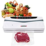 Egofine Food Vacuum Sealer Machine - Automatic 2 in 1 Automatic Vacuum Air Sealing System for Dry & Moist Food Saver, with Full Starter Kit for Sealing Wine and 10 Food Vacuum Seal Bags, White