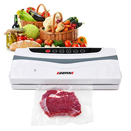 Vacuum Sealer Machine - Automatic Compact Food Sealer Saver, 2 IN 1 Powerful Vacuum Sealing System Fits Extra Wide Bags Up to 12.6 Inch, with Full Starter Kit 10 Sealing Bags -Dry & Moist Modes by Ego