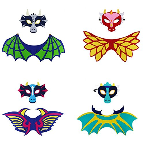 LOLANTA 4 Pack Kids Dinosaur Wings Shawl Cape and Mask Cosplay Costume Dress up