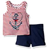 Kids Headquarters Baby Girls' 2 Pieces Shorts Set, Navy, 12M