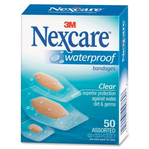 (Nexcare 43250 Waterproof, Clear Bandages, Assorted Sizes, 50/Box)