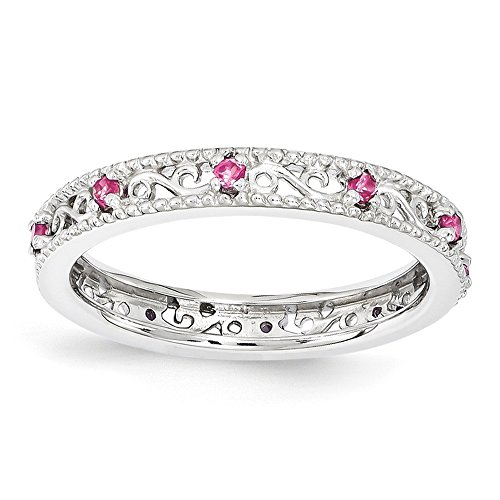 3mm Sterling Silver Stackable Created Pink Sapphire Scroll Band Size 6