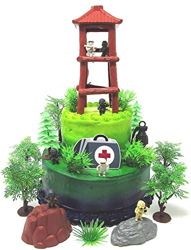 Battle Crusade Survival Royale Gaming Themed Cake Topper with Battle Figures and Resource Themed Accessories by Cake Toppers