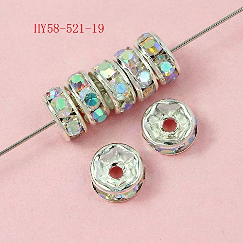 Hybeads 100 Pcs Crystal Rondelle Spacer Bead Silver Plated