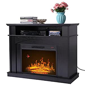"LAZYMOON 41"" Large 1500W Room Adjustable Electric Fireplace TV stand w/ Remote Control"