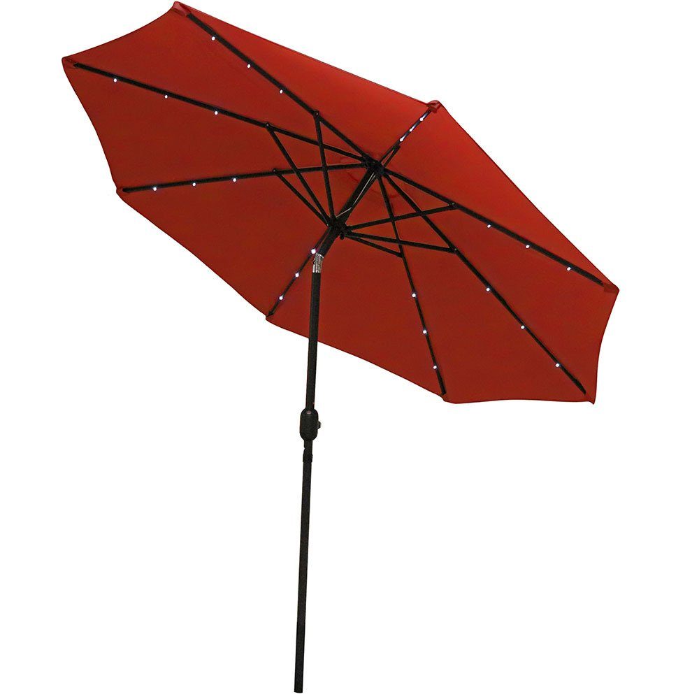 Sunnydaze Solar Powered LED Lighted Aluminum Patio Umbrella with Tilt & Crank, 9 Foot, Burnt Orange