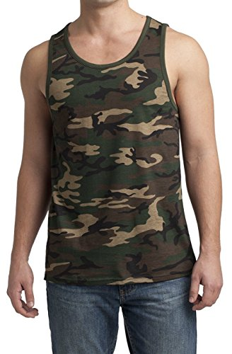 Men's Young Cotton Ringer Tank Military Camo/Dark Army Medium