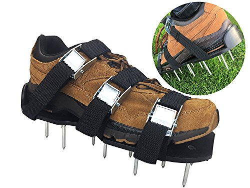 Gonicc Garden Professional Heavy Duty Lawn Aerator Shoes, 3 Adjustable Straps and Zinc Alloy Buckles, Free Extra Spikes, Universal Size that Fits all.