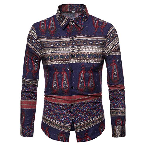NIUQI Mens Vintage Ethnic Printed Turn Down Collar Long Sleeve Loose Casual Shirts