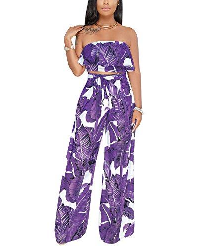 Purple Print Pant Set - Women Sexy 2 Piece Outfits - Floral Jumpsuits Wide Leg Long Pant Sets Off Shoulder Crop Tops Purple S