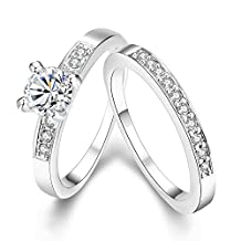 Eternity Love Women's 18K Rose/White Gold Plated Princess Cut CZ Crystal Engagement Rings Best Promise Rings Anniversary Wedding Bands for Lady Girl High Polish Finish Comfort Fit Size 5-9