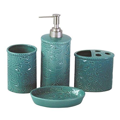 HiEnd Accents 4-pc Savannah Bathroom Set, Turquoise/Western, One Size, Blue