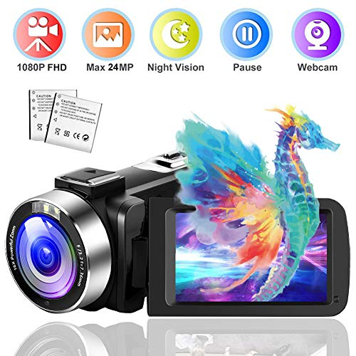 Video Camera Camcorder 24MP 1080P Full HD 30FPS Vlogging Camera IR Night Vision Camcorders Camera Recorder 16X Digital Zoom Camera with The Pause Function and Remote (NEW07)