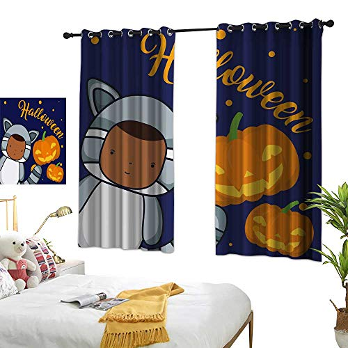 Home Series Design Chic Curtains Halloween and Kids Cartoons Premium Washable Ironing W96.4 xL72 ()