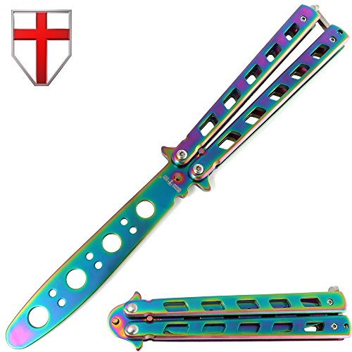 Butterfly Knife - Balisong Trainer Practice Professional Dull Knife - Rainbow Iridescent Metal Butterfly Unsharpened Knife Stainless Steel Blade - Grand Way (Fly Trainer)