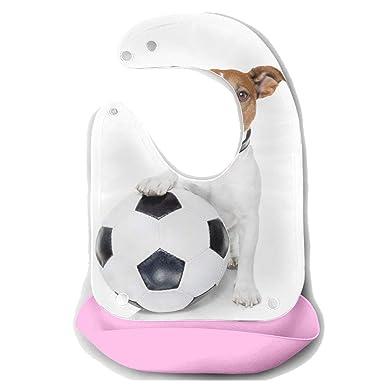 Baberos de alimentación para niños Perro con un balón de fútbol ...