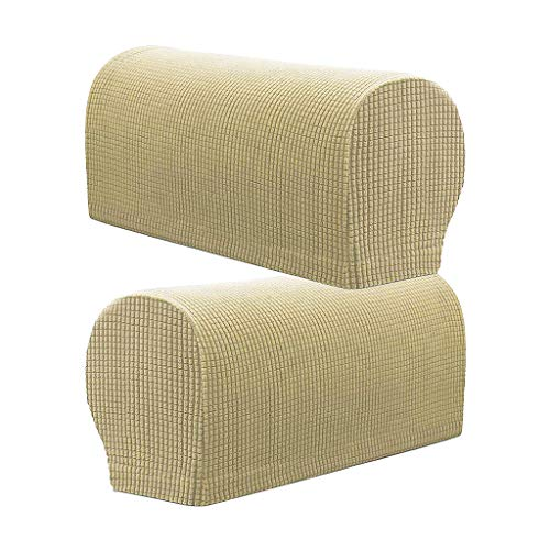 - Set of 2 Premium Furniture Armrest Covers Sofa Couch Chair Arm Protectors - Beige