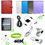 CrazyOnDigital 20 Items Accessories Case Charger Screen for Apple iPad 2, iPad 2G - 16 GB, 32 GB, 64 GB, 3G, Wi-Fi (iPad2_20Items_bundle)