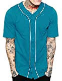 Hat and Beyond Mens Baseball Button Down Jersey Hipster Hip Hop T Shirts 1UPA01 (Large, Turquoise/White)