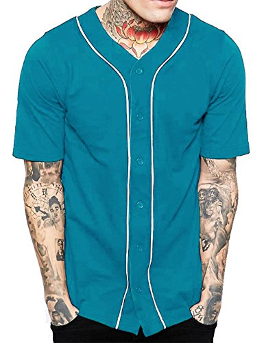 Mens Baseball Button Down Jersey Hipster Hip Hop T Shirts 1UPA01 (Large, Turquoise/White) Full Button Down Jersey