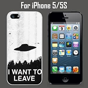 I Want to Leave UFO Custom Case CoverSkin *NEW* Case for Apple iPhone 4s - White - Plastic Case (Ships from CA) Custom Protective Case , Design Case-ATT Verizon T-mobile Sprint ,Friendly Packaging - Slim Case