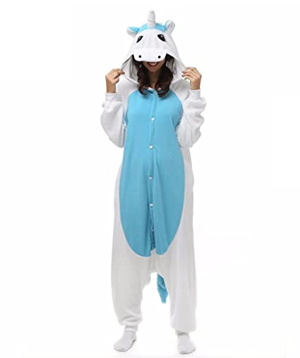HYY@ Kigurumi Pajamas Unicorn Leotard/Onesie Halloween Animal Sleepwear Blue Patchwork Polar Fleece Kigurumi