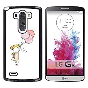 YOYOYO Smartphone Protección Defender Duro Negro Funda Imagen Diseño Carcasa Tapa Case Skin Cover Para LG G3 D855 D850 D851 - poco arte globo niña madre blanca mamá