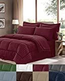 GoodGram Basic Bed in a Bag 8 Pc. Down Alternative Embossed Dobby Striped Comforter Set by Assorted Colors & Sizes (Burgundy, Queen)