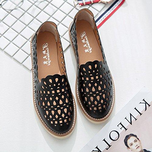 Mujer Sandalias con Color de para Estudiantes Simple 38 Planas Romanos Zapatos negro Marrón Unidades Diseño Salvajes Botones Cabeza Playa ITTXTTI para Cuadrada tqdBFwnB