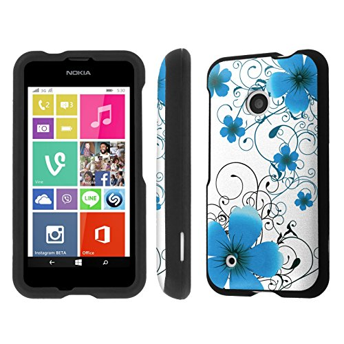 NakedShield Nokia Lumia 530 (Blue Flower) Total Hard Armor LifeStyle Phone Case (Phone Case For A Nokia Lumia 530)