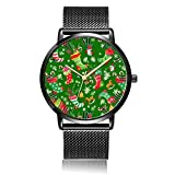 Whiterbunny Customized Christmas Socks Wrist Watch Unisex Analog Quartz Fashion Black Steel Bracelet Wristwatch for Women and Men