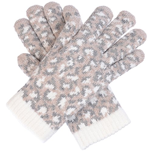 Nylon Print Gloves - BYOS Womens Winter Fashion Wild Leopard Pattern Cozy Warm Fleece Lined Gloves (Beige Leopard)