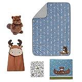 Lambs & Ivy Tippy Canoe 5-Piece Crib Bedding Set - Woodland Creatures, Mountain Nature Theme