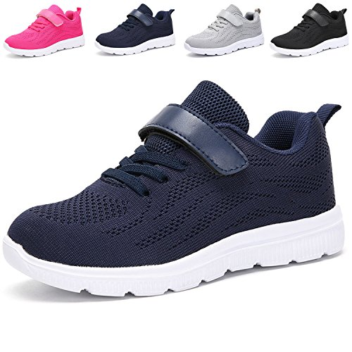 School Girl Shoes (VIFUUR Kids Lightweight Breathable Sneakers Easy walk Casual Sport School Shoes for Boys Girls Blue 31)
