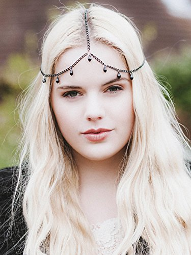 A&C Fashion Bohemia 1 Layer Black Rhinestones Witch Headchain for Women, 2017 Hot Sale Headpieces for Girls. -