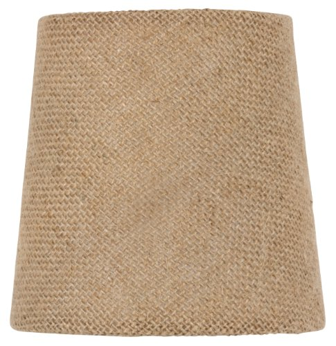 Upgradelights 4 Inch Euro Barrel Chandelier Shade in Natural Burlap 3x4x4 - Euro White Chandelier