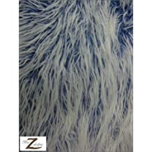 """FAUX FAKE FUR FROSTED MONGOLIAN LONG PILE FABRIC - Royal Blue - 60"""" WIDTH SOLD BY THE YARD SHAGGY"""