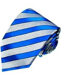 LORENZO CANA - Luxury Italian 100% Silk Tie Jacquard Blue Grey Stripes - 84222