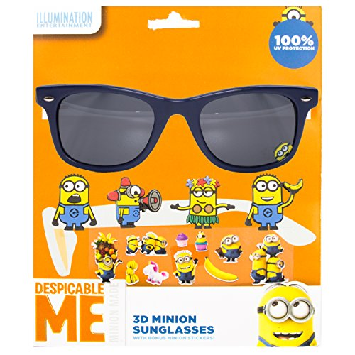 [NBC Universal Despicable Me Kid's Sunglasses with 3D Slide-on Characters Blue] (Despicable Me Glasses)