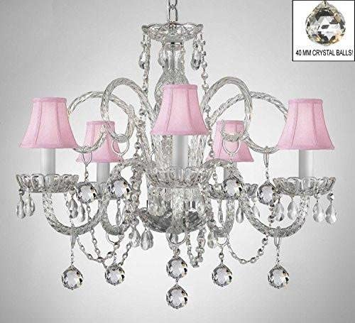 Chandelier Made with Swarovski Crystal Crystal Chandelier with Pink Shades Crystal Balls