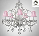 Swarovski Crystal Trimmed Chandelier! Crystal Chandelier With Pink Shades & Crystal Balls Review