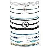 Long tiantian 2 Pcs Summer Surfer Wave Anklet Bracelet for Woman,Adjustable Waterproof Ocean Wave Braided Rope String Bracelet Set (3-Set)