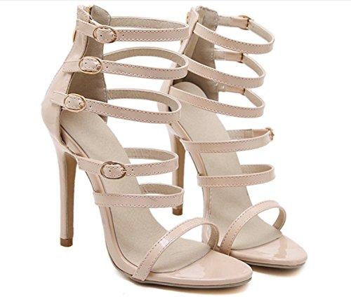 YCMDM Womens cinturino alla caviglia pompa i pattini romano Sandali con tacco Hollow Charme Scarpette Scarpe , apricot , 35