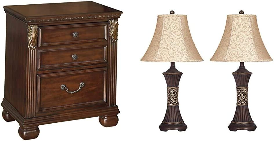 Ashley Furniture Signature Design - Leahlyn Nightstand - Antique Style - Rectangular - Warm Brown & Mariana Poly Table Lamps - Traditional - Set of Two - Antique Brown