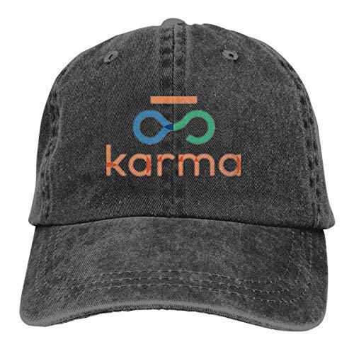 (YBHAT Karma Recycle Mens & Women's Pigment Dyed Baseball Cap Adjustable Black)